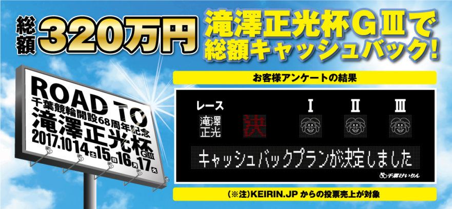 """Road to """"開設68周年千葉記念競輪"""" キャッシュバックプラン決定!!!"""